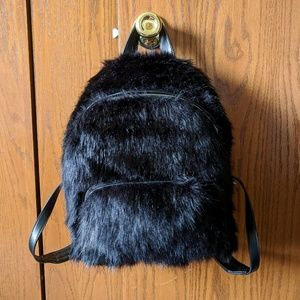 NWT Kendall + Kylie LARGE Black Fur Furry Backpack